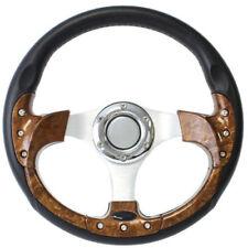 Burl Wood & Leather Grip Golf Cart Steering Wheel - 6 Hole Universal Pattern