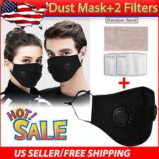 1x Cotton Washable/Reusable ANTI-FOG Respirator Vent Face Mask + 2 PM2.5 Filter