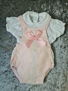 New SS21 Baby girl Spanish romper - jam pants / blouse with bow. PINK 0-24 month