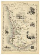 Perth Swan River Western Australia illustrated map Tallis ca.1851