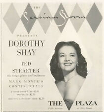 1955 Dorothy Shay Ted Straeter The Persian Room The Plaza Beautiful PRINT AD