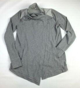 Lululemon Athletica Women Long Sleeve Pocket Wrap Sweater Jacket Size 6 Gray