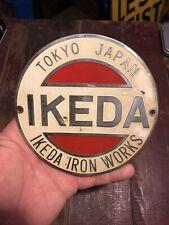 Vintage Ikeda Drill Press Emblem Tokeo Japan Machine Tag Work Shop