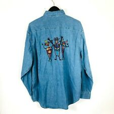 Grand Canyon West Arizona men's denim shirt long sleeve aztec patches large