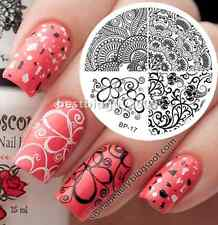 Nail Art Stamping Plate Elegant Flower Image Stamp Template #17 BORN PRETTY