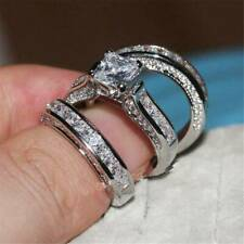 3PC/Set 925 Silver Wedding Rings Elegant for Women White Sapphire Ring Xmas Gift