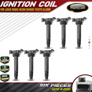 6x Ignition Coils for Toyota Kluger Lexus RX330 RX400H 6 3.3L 3MZ-FE 9091902246