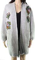 Hail3y:23 Womens Sweater Gray Size Medium PM Petite Floral Cardigan $68- 957