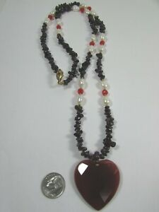 Lee Sands Wacky Friday Red Agate Heart w Garnet, CFWP Baroques & Swarovski NK