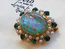 Impresionante cosecha Joyas Diamantes de Imitación Perla y Esmeralda Cabujón Ágata Broche Pin