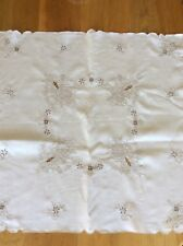 "Madeira Cream Linen Tablecloth Beige Floral Embroidery / Open Work 34"" Square"