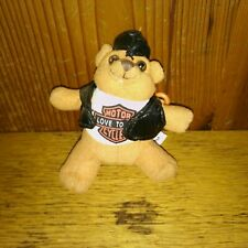 Love to Ride Motor Cycles Plush Brown Bear Keychain with Black Jacket