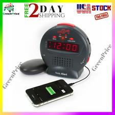 Vibrating Digital Alarm Clock Super Loud Wired Bed Shaker for Deaf Hearing / Kid