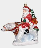 Santa Riding a Polar Bear Polish Mouth Blown Glass Christmas Ornament Decoration