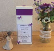 IN MEMORY MEMORIAL DONATIONS BOX, PERSONALISED, BUTTERFLIES, ANY RIBBON COLOUR