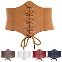Plus Size Women Polyurethane Leather Wide Corset Belt Waist Cincher Waistband