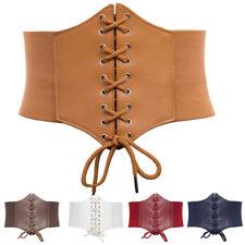 Plus Size feminina de couro ecológico, de largura Corset Cinto Waist Cincher Cós