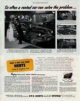 1952 ORIGINAL VINTAGE HERTZ CAR  RENTAL MAGAZINE AD