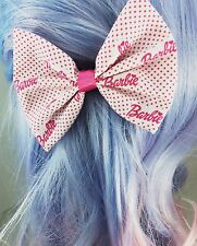 Pink Polkadot Barbie Girl Handmade Hair Bow Girly Fabric Hair Clip