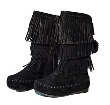 Baby Toddler Girls 3 Layer Fringe Flat Heel Zipper Boots Mid-calf Shoes Moccasin