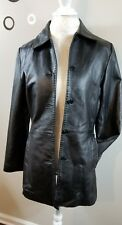 Reilly Olmes RO Women Small Solid Black 100% Leather Lt Weight Coat Jacket