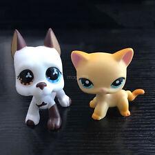 2pcs Littlest Pet Shop LPS 2pcs #577 #399 Great Dane Dog Yellow Cat Rare Gift