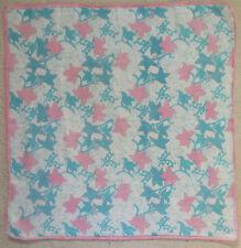 Vintage Handkerchief MENS Hankie Top Pocket Square PINK BLUE LEAF