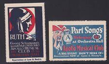 US Vintage 2 Apollo Musical Club Cinderella Stamps L91 Mint OG NH