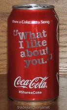 """NM 2016 USA LE #SHARE A COKE AND A SONG """"WHAT I LIKE ABOUT YOU"""" 12oz FULL CAN"""