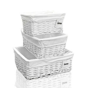 Wicker Storage Hamper Basket White With Cloth Lining