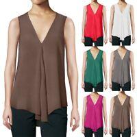 Womens Summer Vest Top Sleeveless Shirt Blouse Casual Loose Tank Tops T-Shirt