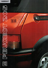 Peugeot 205 Cabriolet Cj CTI 1990-91 Original mercado neerlandés Folleto
