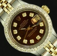 Rolex Ladies Datejust Oyster Stainless Gold Diamond Dial Bezel Luxury Watch