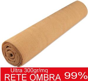 Rete Ombreggiante 50mt 300Gr beige Telo Sole Ombra 99 Frangisole Frangivista 1,5