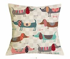 "Dog Puppy Dachshund Sausage Cute 17"" Square Cushion Cover Pillow Case Beige Gift"