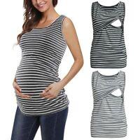 Women Maternity Pregnant Sleeveless T Shirt Blouse Stripe Tank Tops Nursing Vest