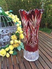 Val St Lambert - imposant vase taille riche 1908 - doublé rouge