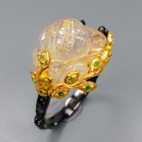 Rutilated Quartz Ring Silver 925 Sterling Carving flower AAA Size 9 /R145877