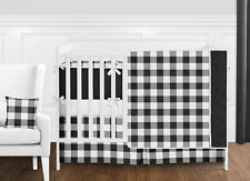 Black White Rustic Country Buffalo Plaid Check Baby Boy Girl Bedding Crib Set