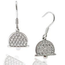 Orecchini pendenti monachella forma campana in argento 925 rodiato con zirconi