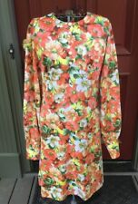 Vintage 60s 70s Orange Floral  Long Full Sleeve Empire Waist Dress