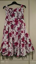 Hearts and Roses 50s style tea swing rock summer party dress Size 14 Pink Roses