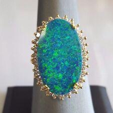 14k YG Australian Blue Triplet Opal Ladies Ring With Diamond Accents CPHOTOS