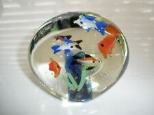 """School of Fish & Reef Crystal Clear Glass Paperweight Hand Blown, 4"""" x 4"""" Round"""