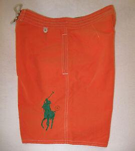 POLO Ralph Lauren Mens Big Pony Board Shorts NWT 30 Orange