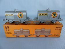 JOUEF HO lot de 2 wagons années 50 citerne AZUR ref: 633 C complet + boite  tbé