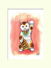 "Chau dipinge ""Fortuna Kitty"" Maneki neko MONTATO A4 30x40cm stampa edizione limitata"