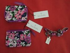 Vera Bradley Travel Pill Case,Coin Purse,&  BREAKAWAY Lanyard in Flower Garden