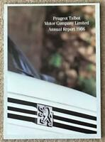 PEUGEOT TALBOT MOTOR COMPANY LIMITED Annual Report 1986