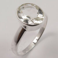 Clear CRYSTAL QUARTZ Ring Choose Size US 5 to 10 Solid 925 Sterling Silver FINE